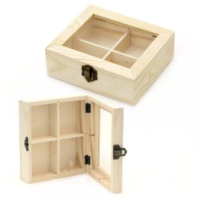 Кутия дървена 150x130x50 мм прозорче 4 разделения