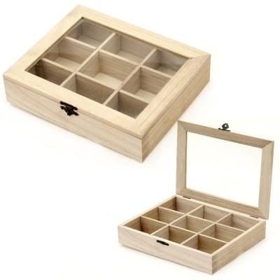 Кутия дървена 220x180x50 мм прозорче 9 разделения