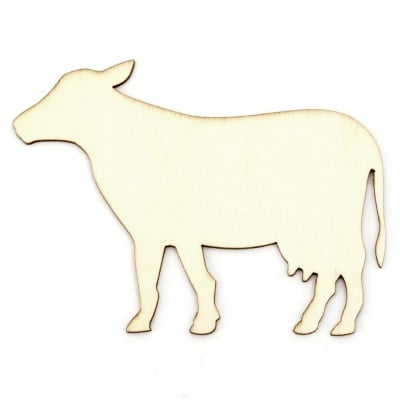 Фигура дървена 110х80х2 мм крава за оцветяване- 5 броя