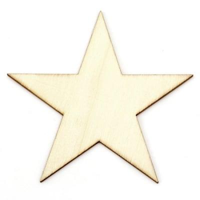 Фигура дървена 100х100х2 мм звезда за оцветяване- 5 броя