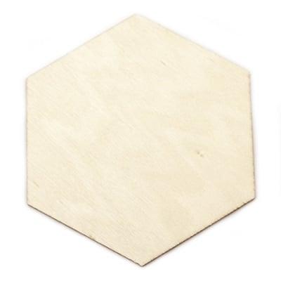 Фигура дървена 100х90х2 мм шестоъгълник за оцветяване- 5 броя