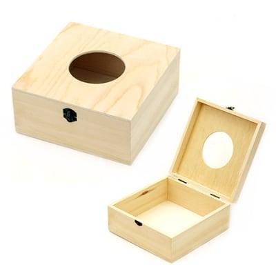 Кутия дървена 180x180x80 мм за салфетки