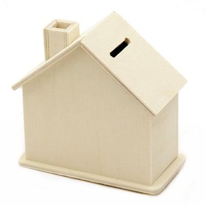 Касичка дървена 105x55x100 мм къща бяла