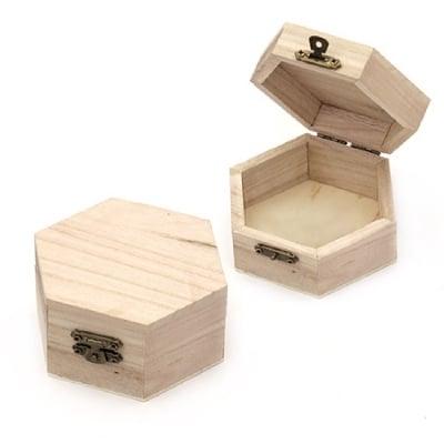 Кутия дървена шестоъгълна 100x90x50 мм
