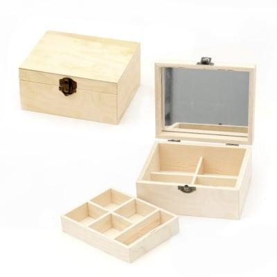 Кутия дървена с огледало 150x120x70 мм две нива