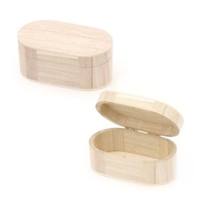 Кутия дървена 150x85x70 мм овална