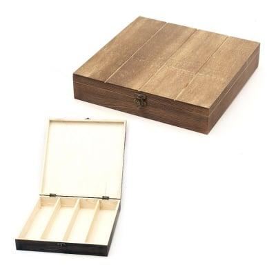 Кутия дървена 300x300x60 мм 4 разделения тъмно дърво