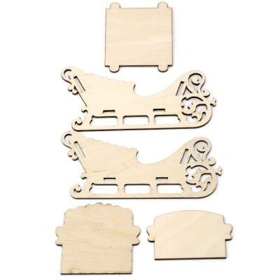 Шейна дървена за декорация от 5 части 160x100x85 мм