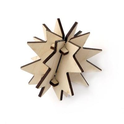 Коледна висулка дървена 3D за декорация 75 мм №Т01