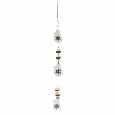 Коледна декорация 53 см дърво снежен човек 5x8x0.5 см 3 броя два цвята -1 брой