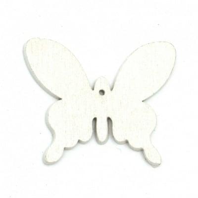 Фигурка за оцветяване дърво пеперуда 50x41x2 мм бяла -6 броя