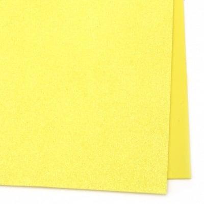 EVA материал /микропореста гума/ 2 мм А4 20х30 см с брокат дъга жълт