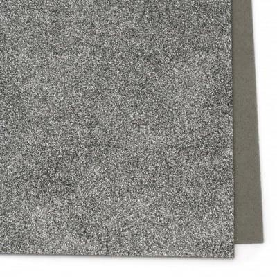 EVA материал /микропореста гума/ 2 мм А4 20х30 см с брокат сив тъмно