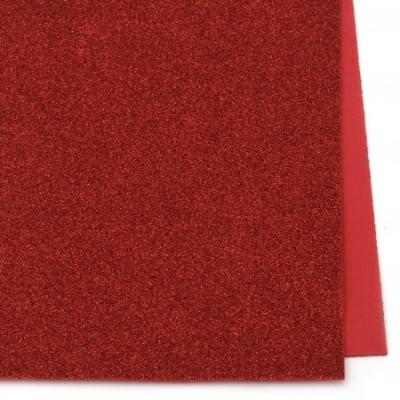 EVA материал /микропореста гума/ 2 мм А4 20х30 см с брокат червен