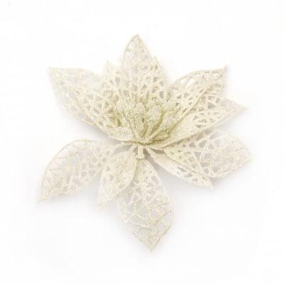 Декорация коледна цвете 110x110x2 мм с брокат -4 броя