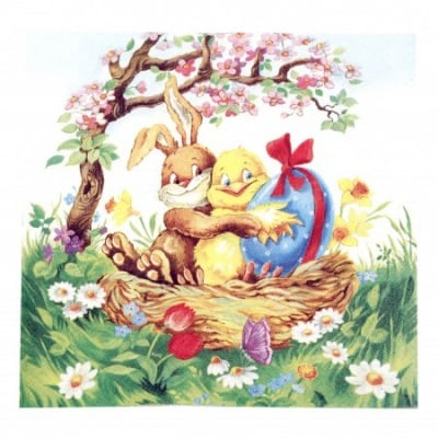 Салфетка HOME FASHION 33x33см трипластова Easter Friends -1 брой