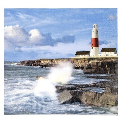 Салфетка HOME FASHION 33x33см трипластова Lighthouse on a Cliff -1 брой