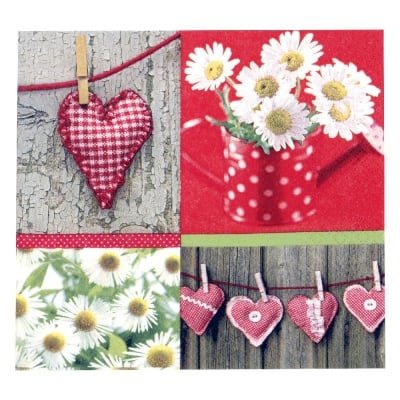 Салфетка HOME FASHION 33x33см трипластова Hearts and Daisies -1 брой