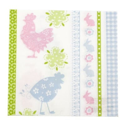 Салфетка HOME FASHION 33x33см трипластова Flowery Chicken -1 брой