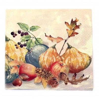 Салфетка HOME FASHION 33x33см трипластова Painted Pumpkins -1 брой