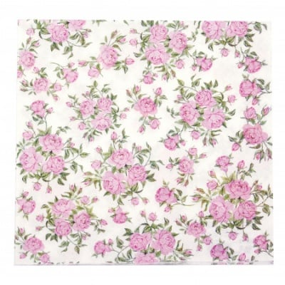 Салфетка HOME FASHION 33x33см трипластова Little Roses -1 брой