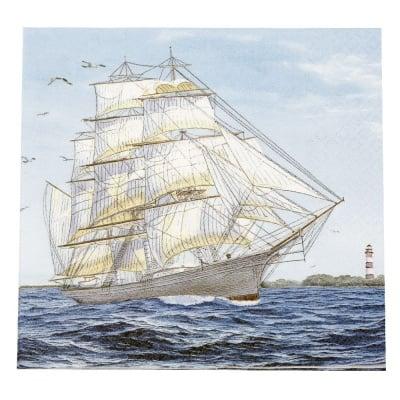 Салфетка HOME FASHION 33x33см трипластова Sailing Ship -1 брой