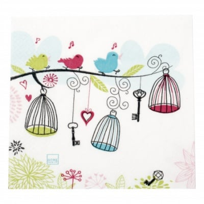 Салфетка HOME FASHION 33x33см трипластова Singing Tweeties -1 брой