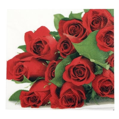 Салфетка HOME FASHION 33x33см трипластова Bunch of Roses -1 брой