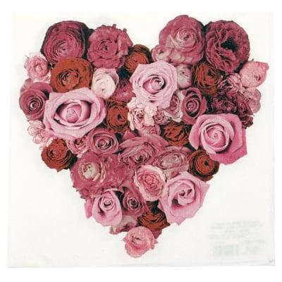 Салфетка HOME FASHION 33x33см трипластова Heart of Roses -1 брой