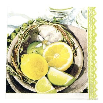 Салфетка HOME FASHION 33x33см трипластова Citrus and Lime -1 брой