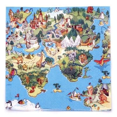 Салфетка HOME FASHION 33x33см трипластова World for Kids -1 брой