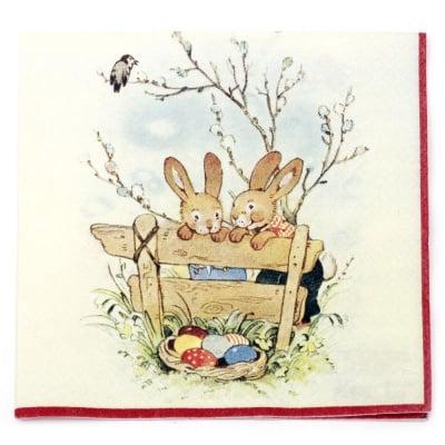 Салфетка HOME FASHION 33x33см трипластова Bunny Friends -1 брой