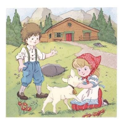 Салфетка HOME FASHION 33x33см трипластова Heidi and Peter in the Alps -1 брой