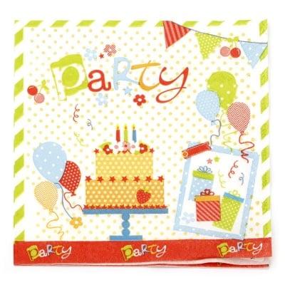 Салфетка HOME FASHION 33x33см трипластова Party Party Party -1 брой