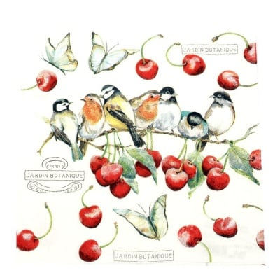 Салфетка HOME FASHION 33x33см трипластова Cherry Birds -1 брой