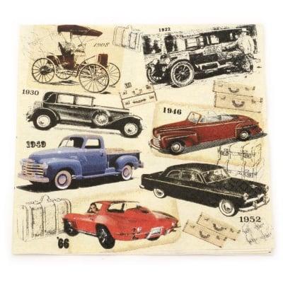 Салфетка HOME FASHION 33x33 см трипластова Classic Cars -1 брой