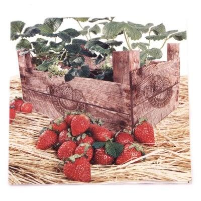 Салфетка HOME FASHION 33x33 см трипластова Strawberry Case -1 брой