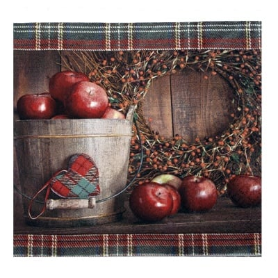 Салфетка HOME FASHION 33x33 см трипластова Apple Picking Season -1 брой