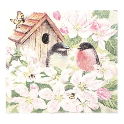 Салфетка HOME FASHION 33x33 см трипластова Birds and Blossom -1 брой
