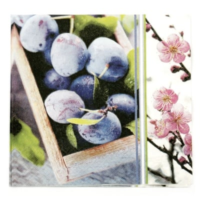 Салфетка HOME FASHION 33x33см трипластова Plum Season -1 брой