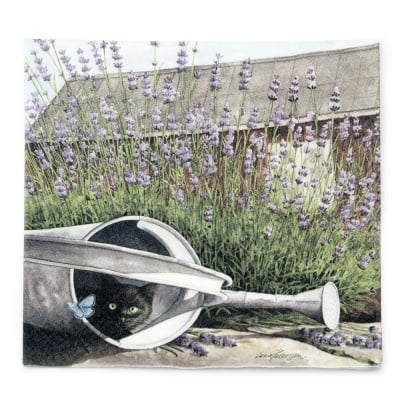 Салфетка HOME FASHION 33x33 см трипластова Cat and Lavender -1 брой