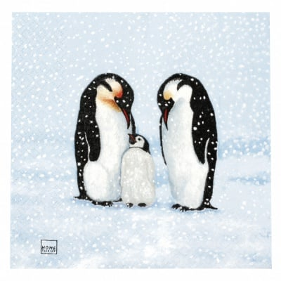 Салфетка HOME FASHION 33x33см трипластова Penguin Family -1 брой