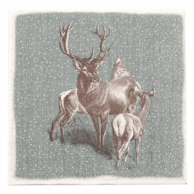 Салфетка HOME FASHION 33x33см трипластова Deer Family -1 брой