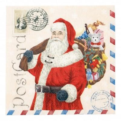 Салфетка HOME FASHION 33x33см трипластова Santa Postcard -1 брой