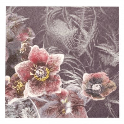 Салфетка HOME FASHION 33x33см трипластова Icy Christmas Rose-1 брой
