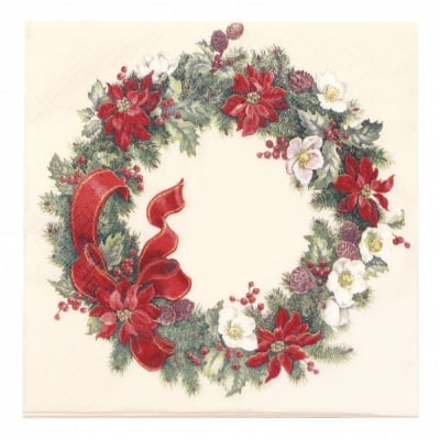 Салфетка HOME FASHION 33x33см трипластова Icy Christmas Wreath -1 брой