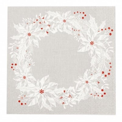 Салфетка HOME FASHION 33x33см трипластова Scandi Wreath -1 брой