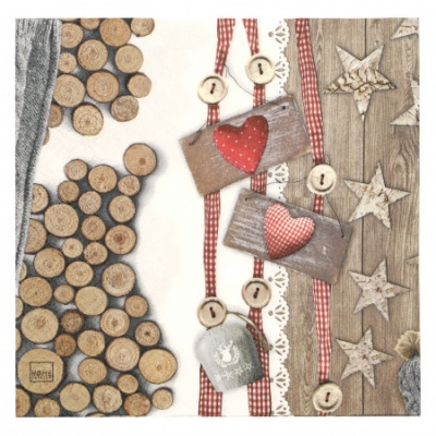 Салфетка HOME FASHION 33x33см трипластова Cottage Loves -1 брой
