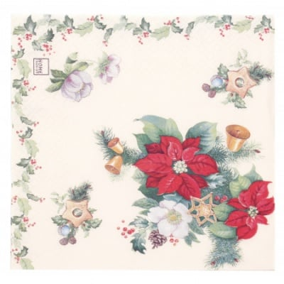 Салфетка HOME FASHION 33x33см трипластова Poinsettia and Ilex -1 брой