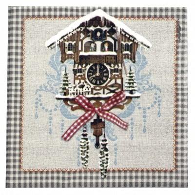 Салфетка HOME FASHION 33x33см трипластова Cuckoo Clock -1 брой